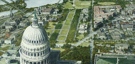 "Detail of ""Bird's-Eye View of Capitol Dome and the Mall"""