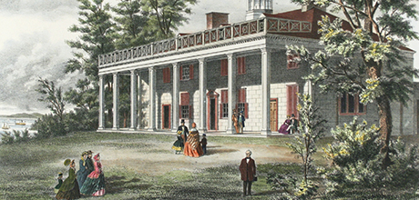 Detail of lithograph of Mount Vernon