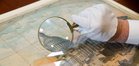 "Photo of ""A New Dissected map of the World with a  Picture Puzzle of the Capitol at Washington"""