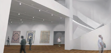 Photo of artist rendering of a gallery in the new museum