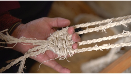 Weaving waraji (sandals) with kibiso