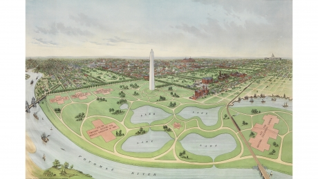 Birdseye View of the National Capital Including the Site of the Proposed World's Exposition of 1892 and Permanent Exposition of