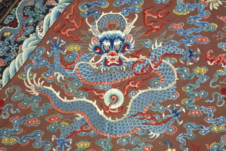 Front detail of dragon robe, China