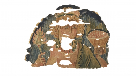 Fragment from hanging with figure holding basket