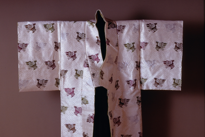 Detail of court robe with phoenixes and hollyhocks