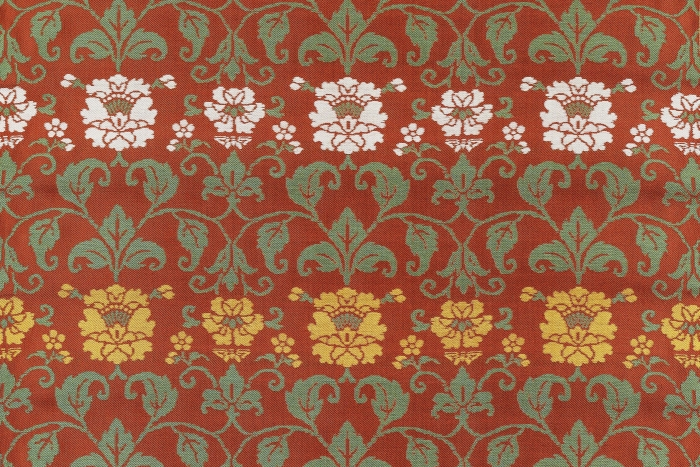 Detail of silk with peony pattern