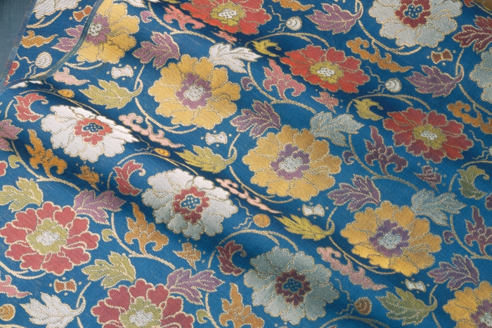 Detail of silk gauze with peony scroll pattern
