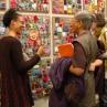 Artist Sonya Clark (left) with the Beaded Prayers Project