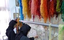 Nuns weaving at Agapia Monastery