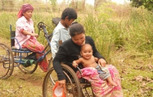 Disabled workers at Weaves of Cambodia, going home.