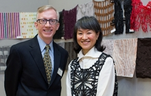 Photo of Tom Goehner with designer Reiko Sudo at Textile Museum event organized on GW's campus