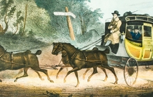 Detail of print with stagecoach
