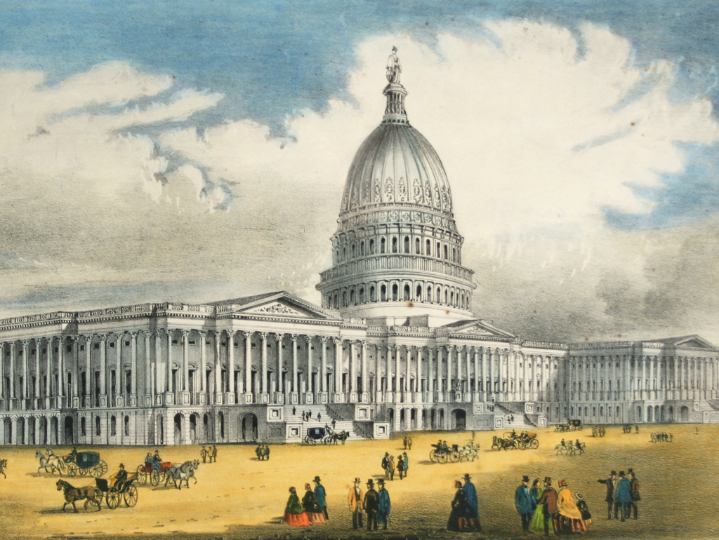 Historical print showing Capitol building