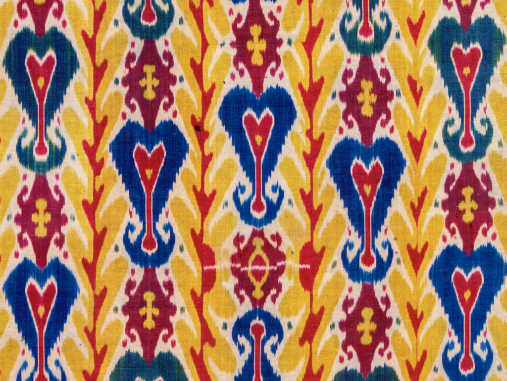 Detail of yellow ikat textile