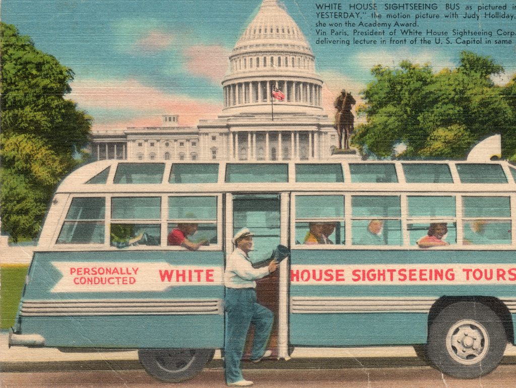 Postcard of streetcar with Capitol building in background