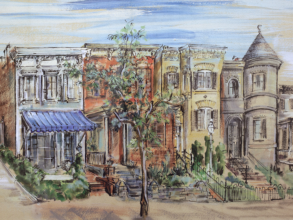 Watercolor of DC rowhouses