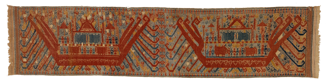 Long textile depicting two large red ships