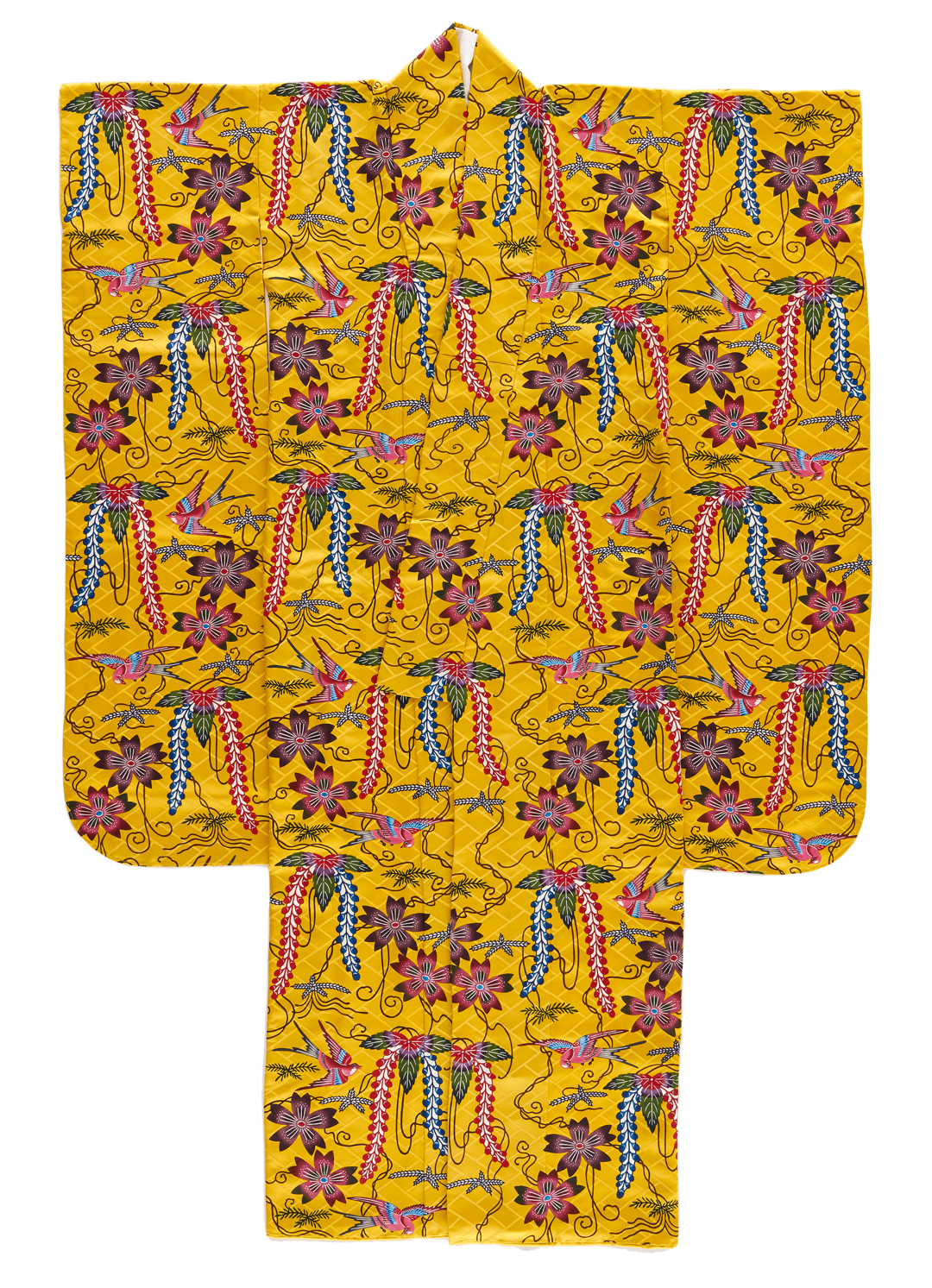 Bright yellow robe with floral pattern