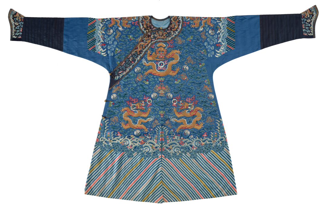 Blue satin robe with dragons