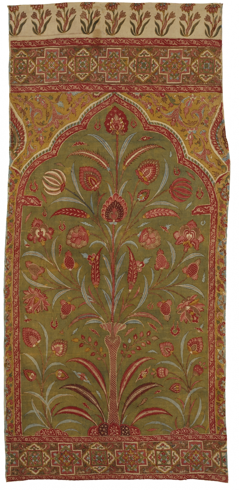 Textile with design of niche and central floral tree