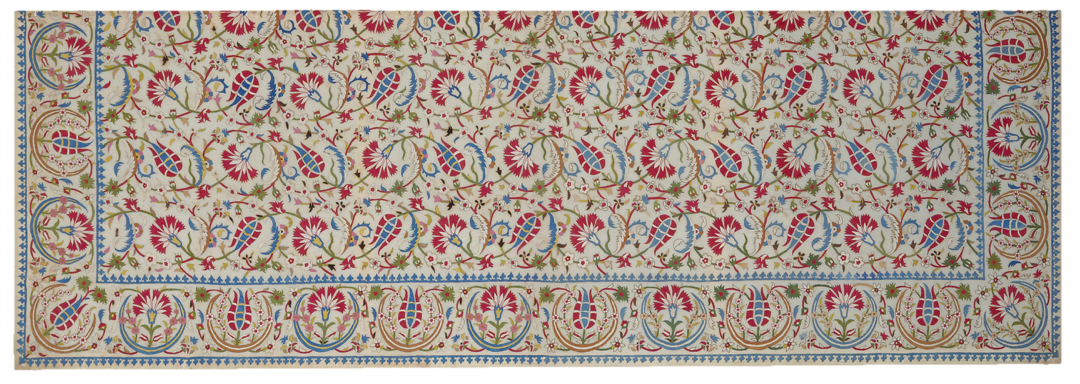 Textile with embroidered flowers