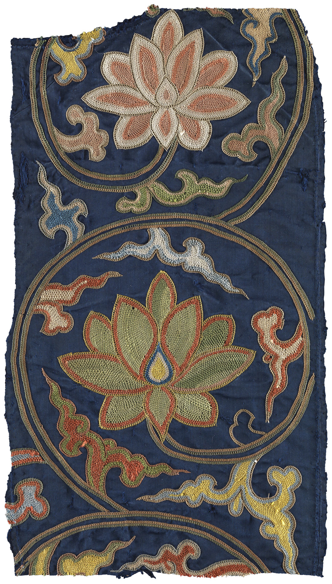 Navy textile with embroidered lotus flowers