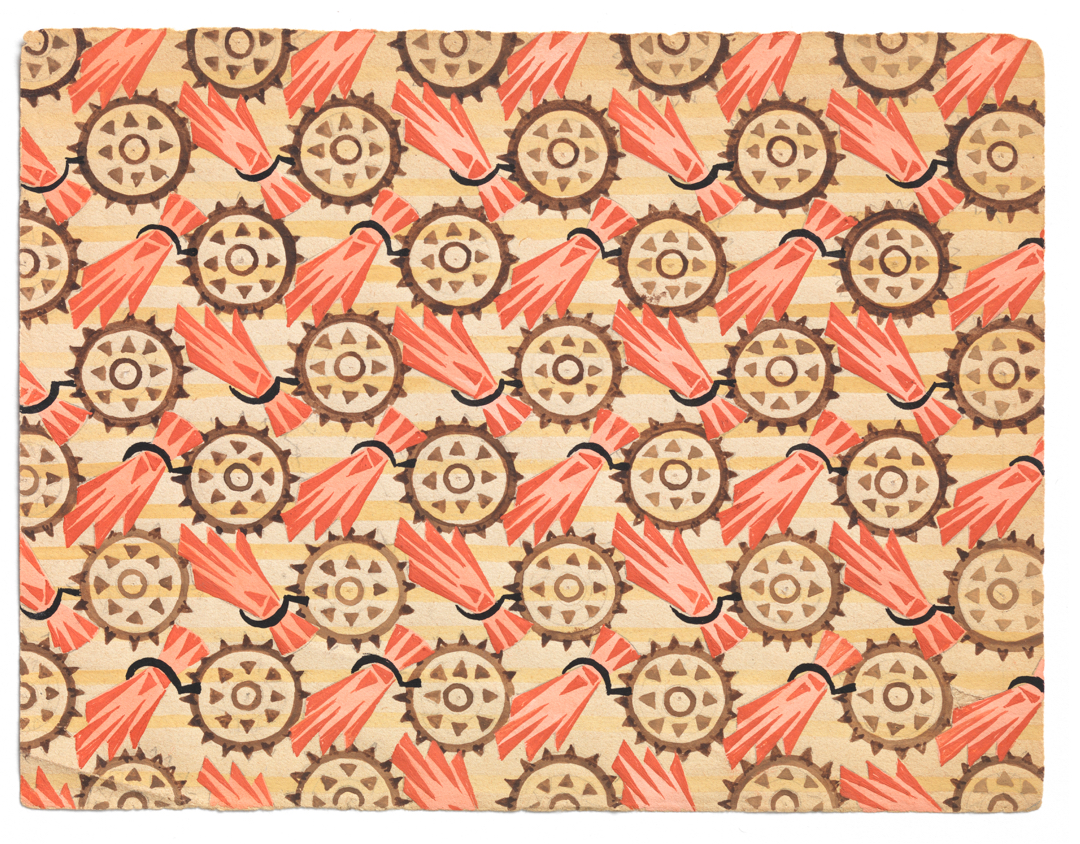 Painted textile design on paper showing gears and sheaves of grain