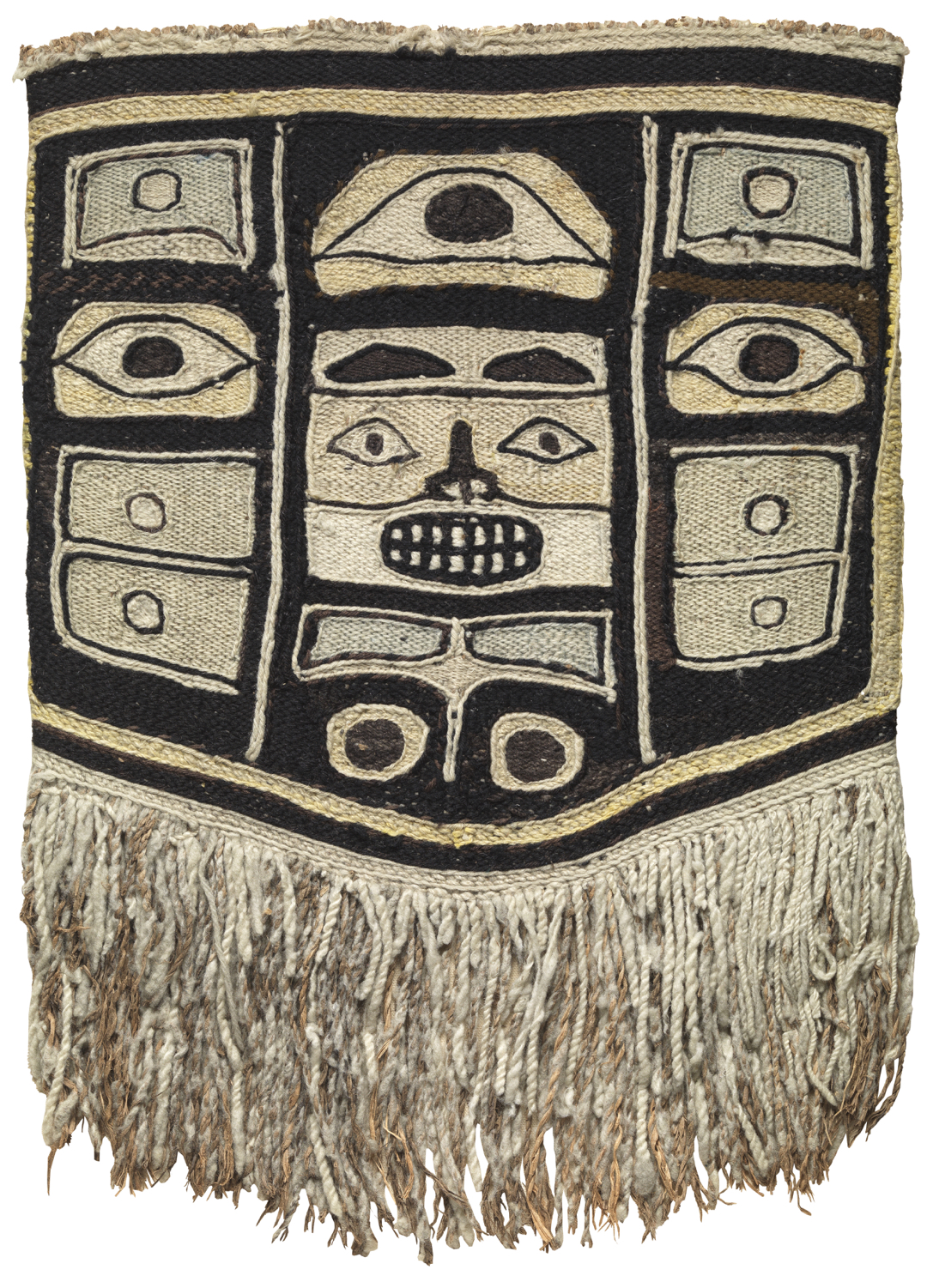 Miniature fringed blanket with geometric motifs
