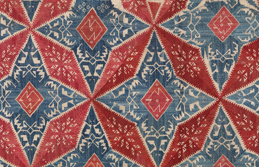 red and blue textile