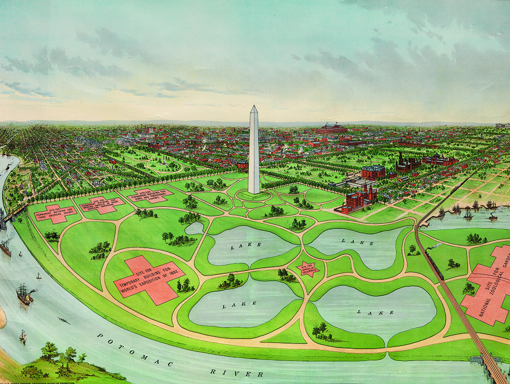 Colorful print showing National Mall and Washington Monument