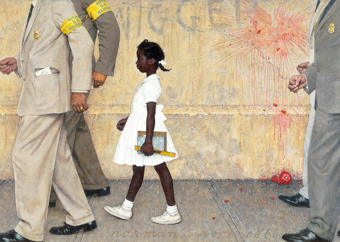 Detail of Ruby Bridges painting by Rockwell