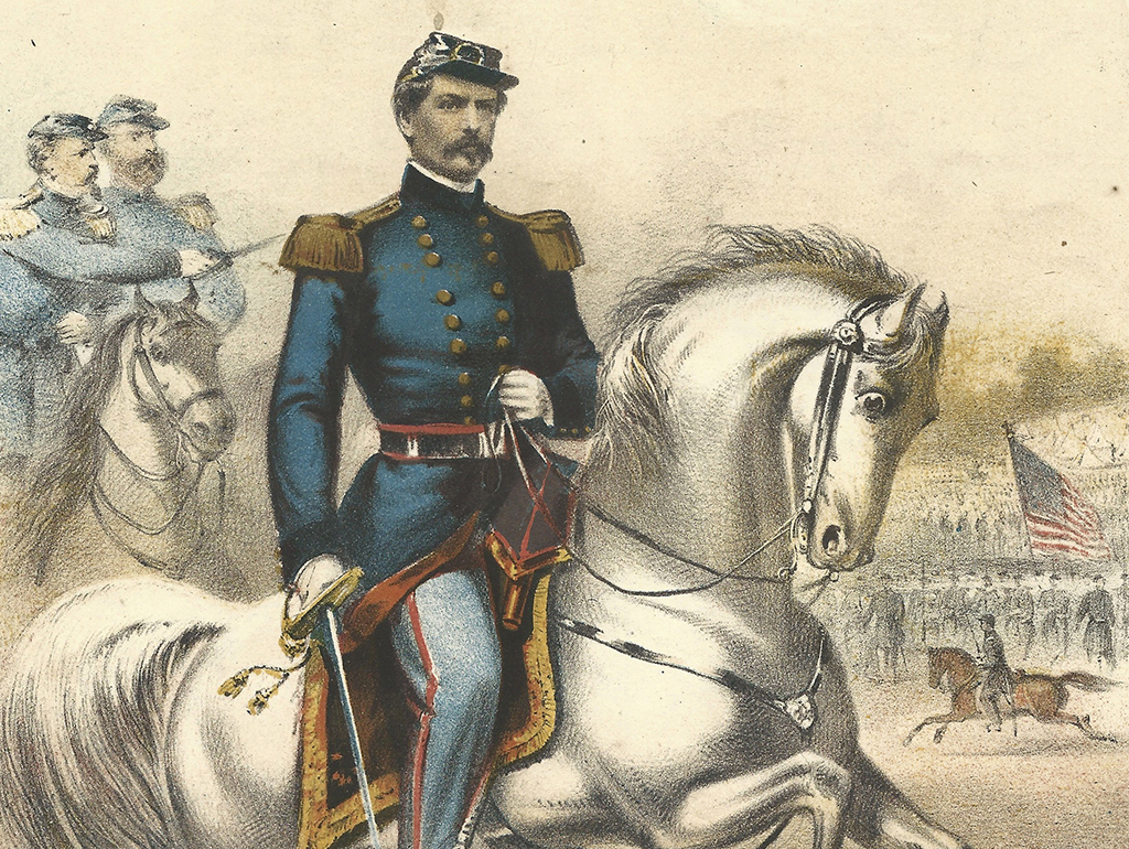 Cover of music sheet showing a general on horseback