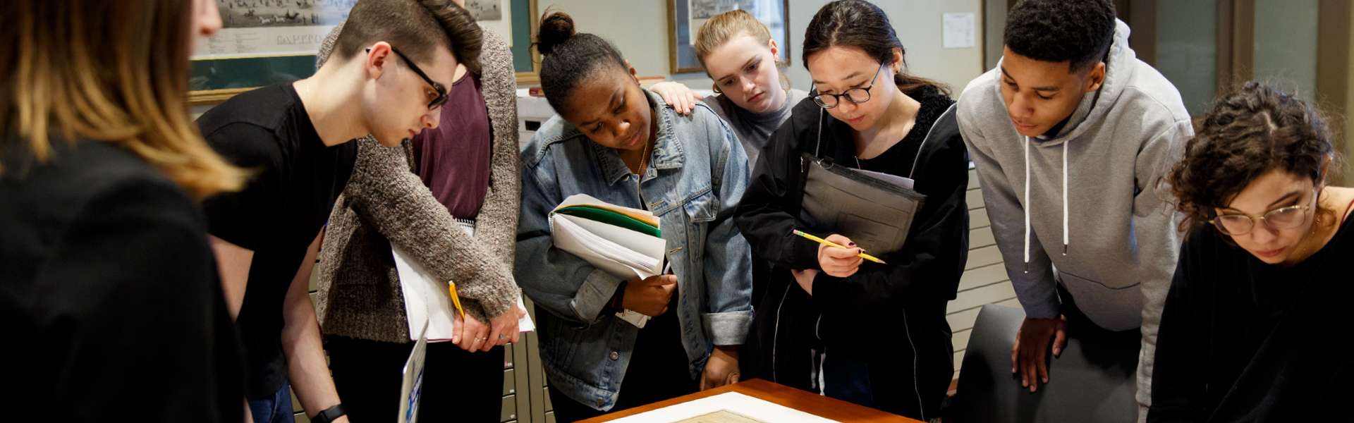 Group of students looking at a map