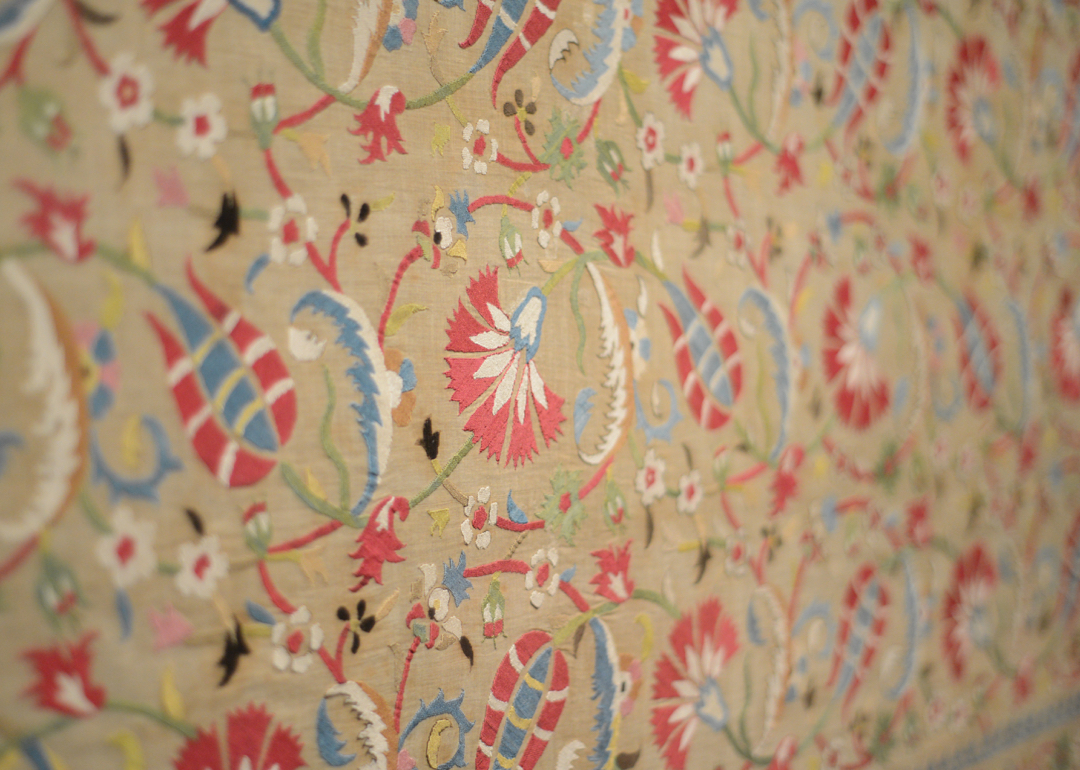 Close up of floral textile