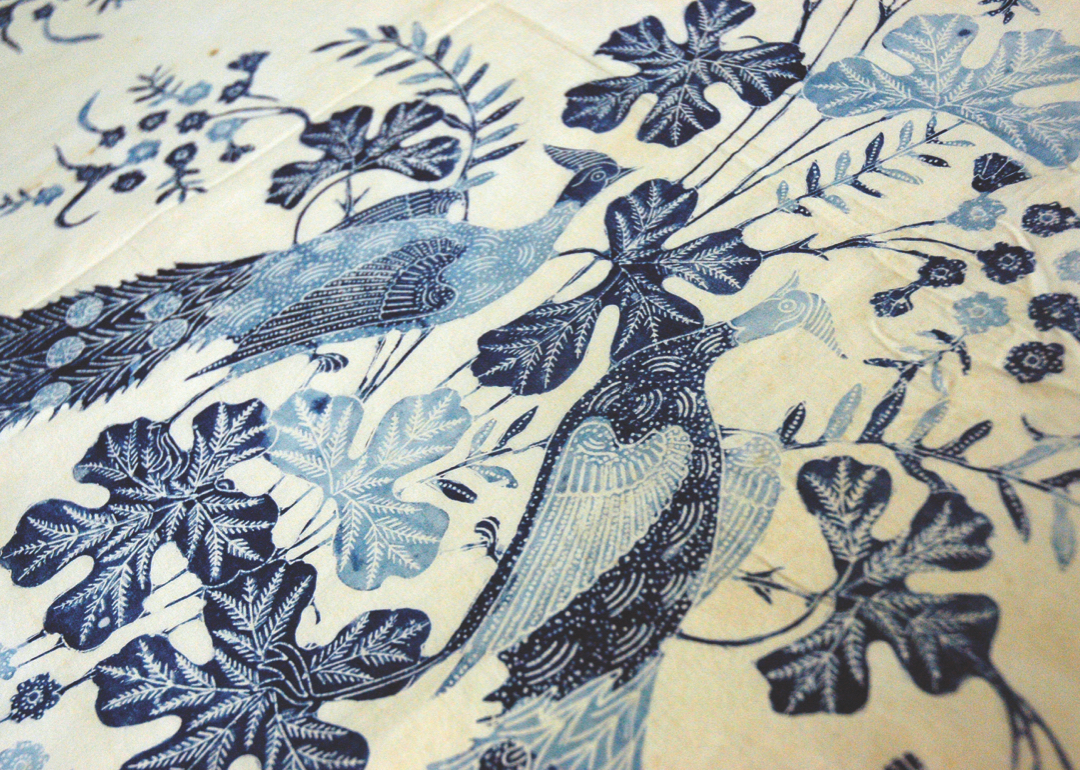 Close up textile with two blue birds