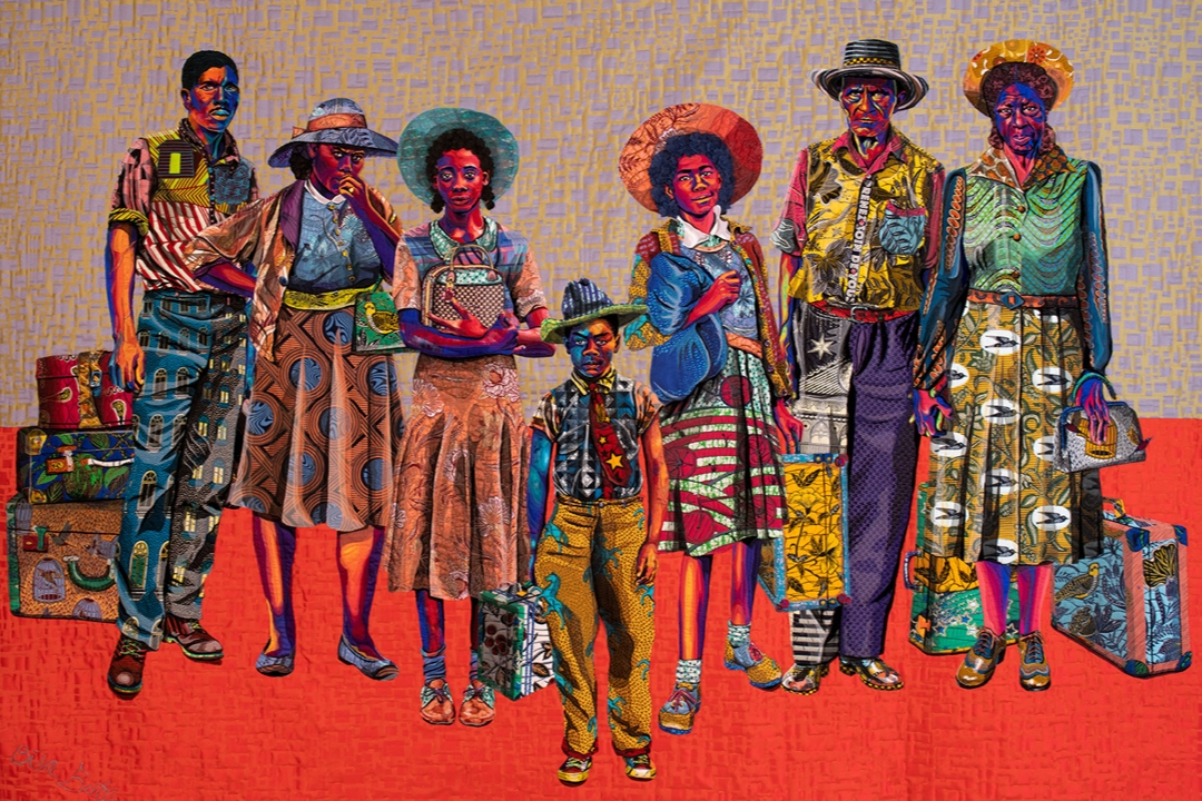 Textile featuring seven realistic human figures
