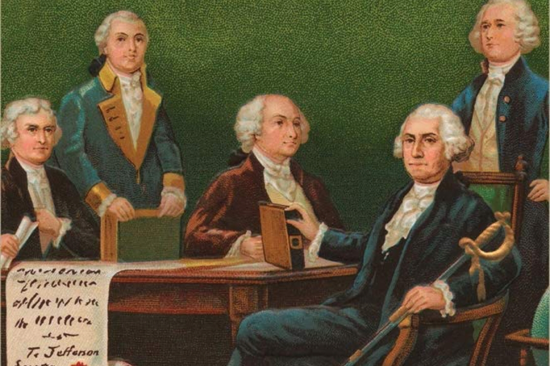 Illustration of founding fathers from book cover