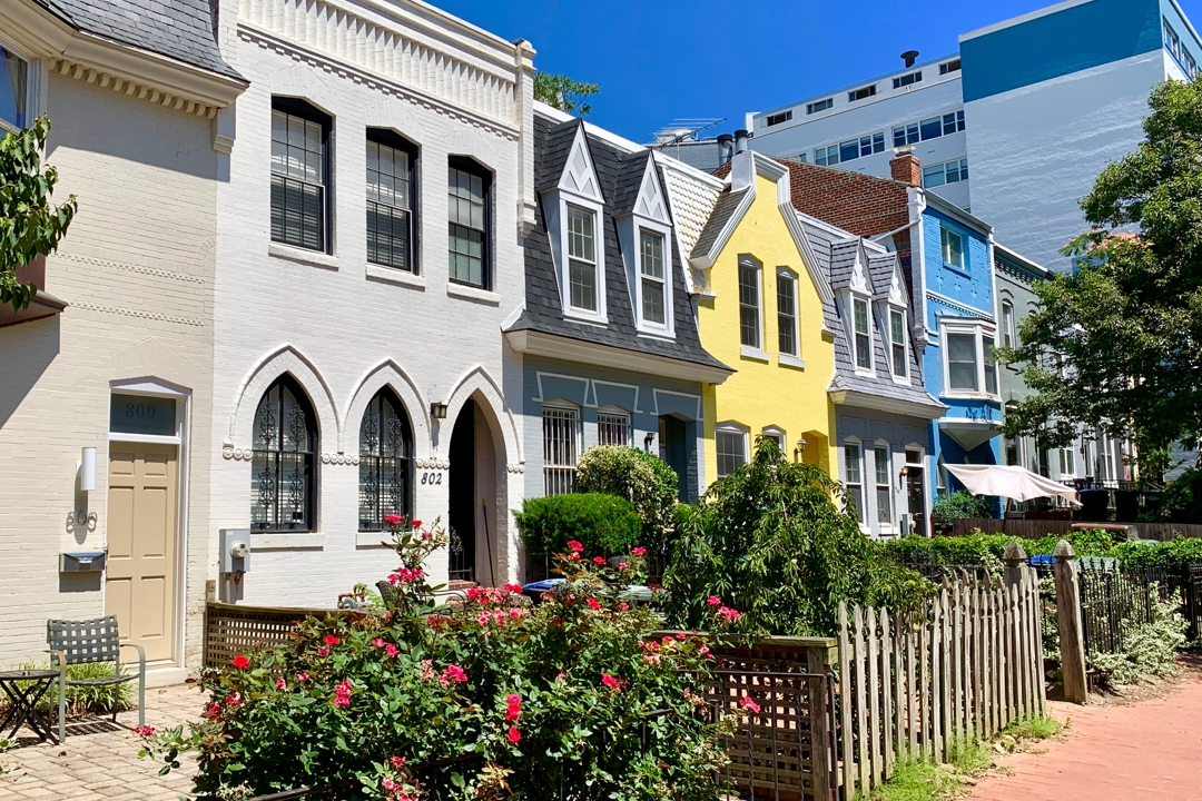 Colorful rowhouses in Foggy Bottom