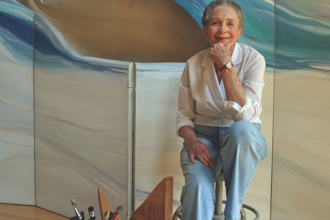 Photo of artist Lilian Thomas Burwell in her studio