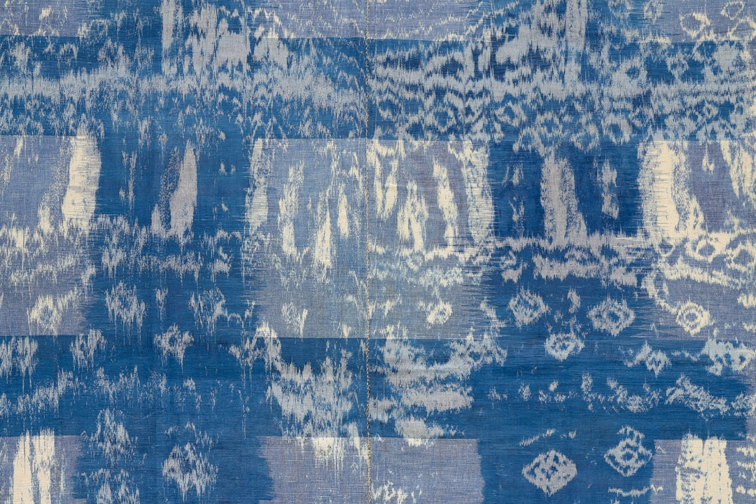 Blue and white ikat textile
