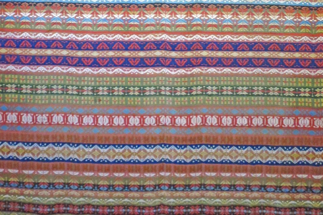 Multicolored striped carpet