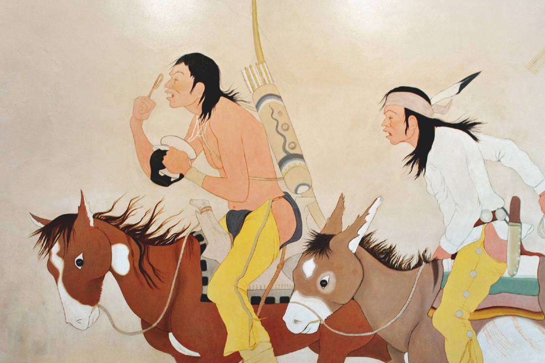 Mural of two Indigenous American men, one riding a horse and the other riding a donkey