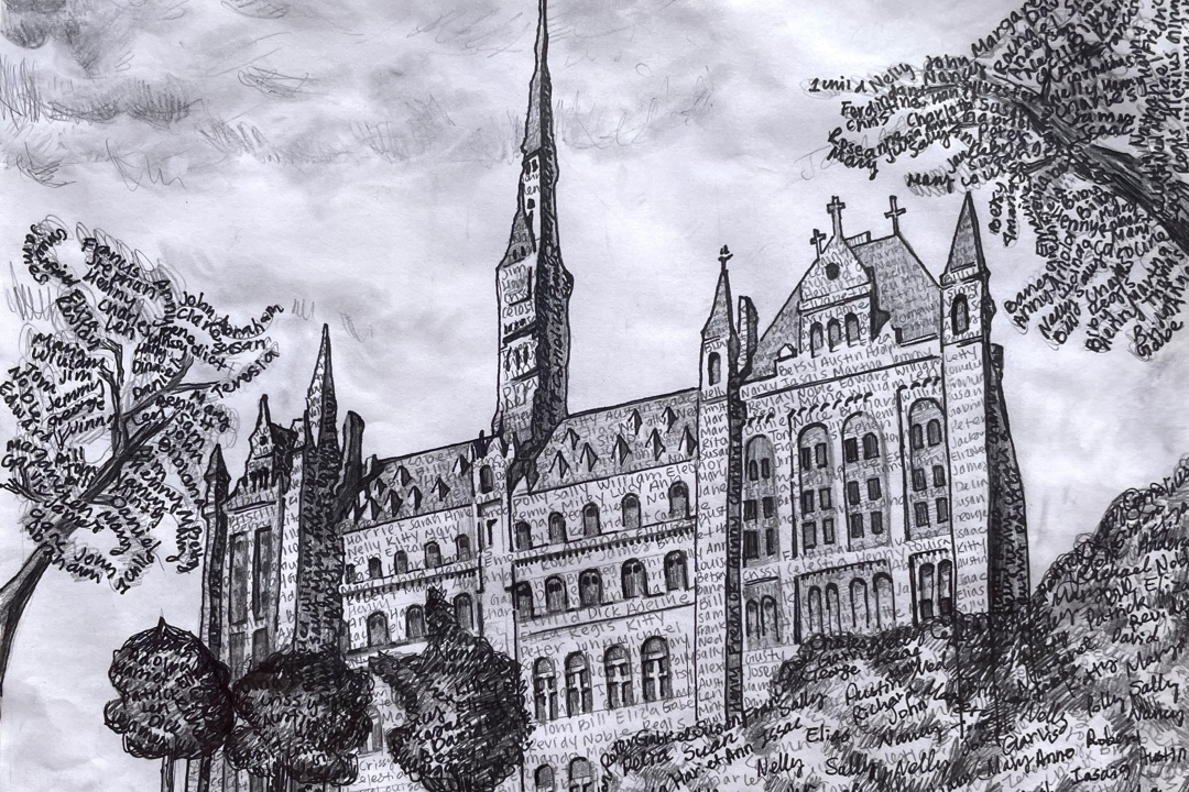 Black-and-white drawing of university building with spire.
