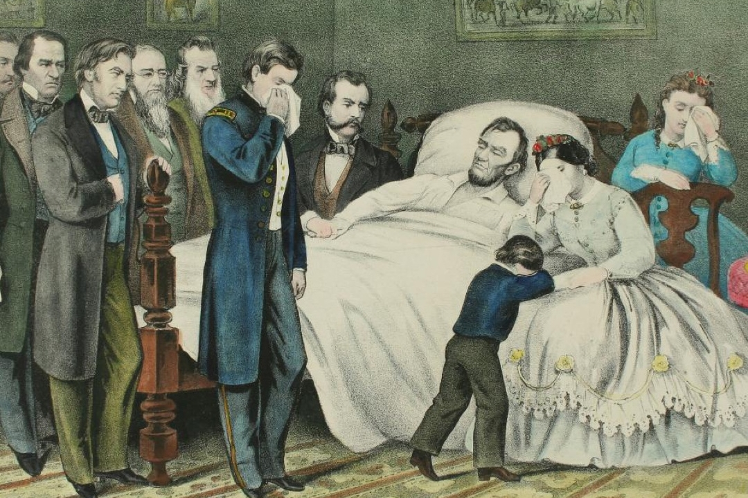 Print of Lincoln on his deathbed surrounded by a crowd of mourners
