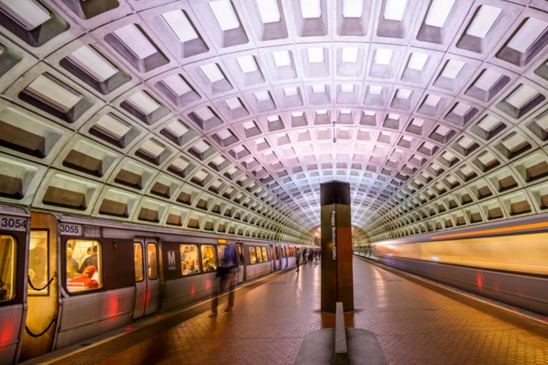 Foggy Bottom GWU metro station in Washington, D.C.