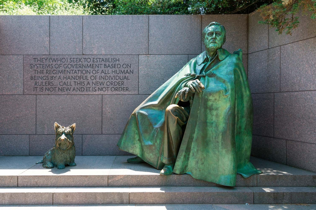 Statue of Franklin Delano Roosevelt and his dog, Fala, at the FDR Memorial in Washington, D.C.