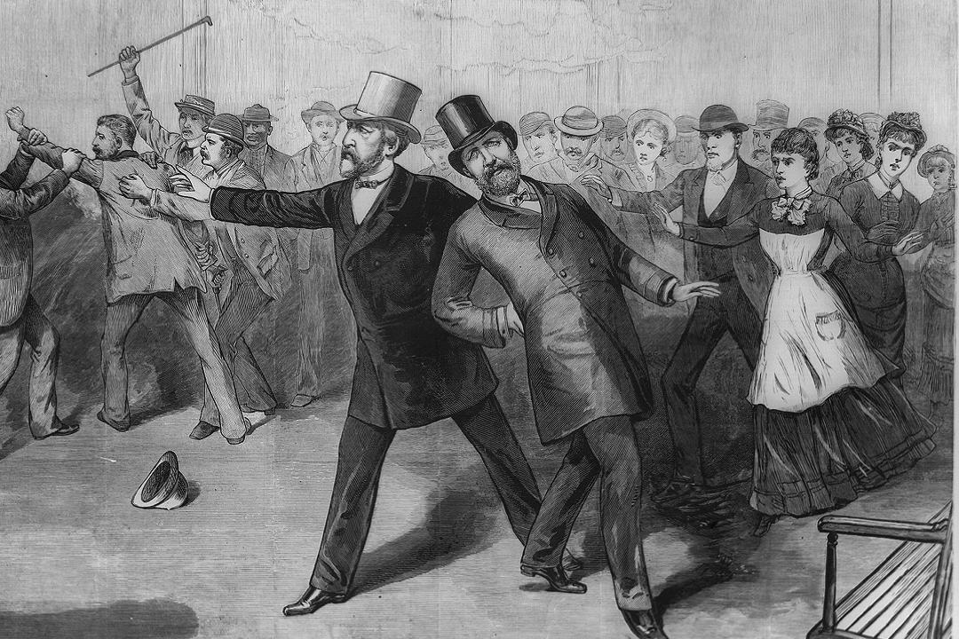 Newspaper print of skirmish between men in top hats