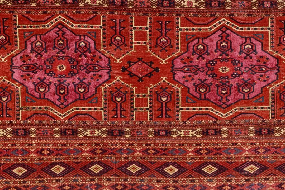 Red, Turkmen rug with detailed design