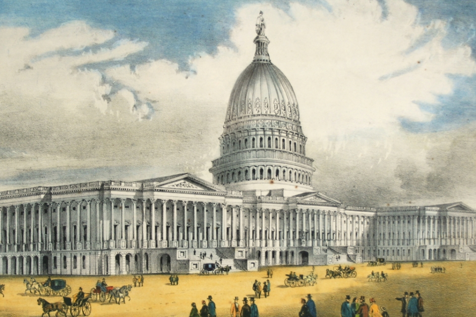 Historical print of Capitol building