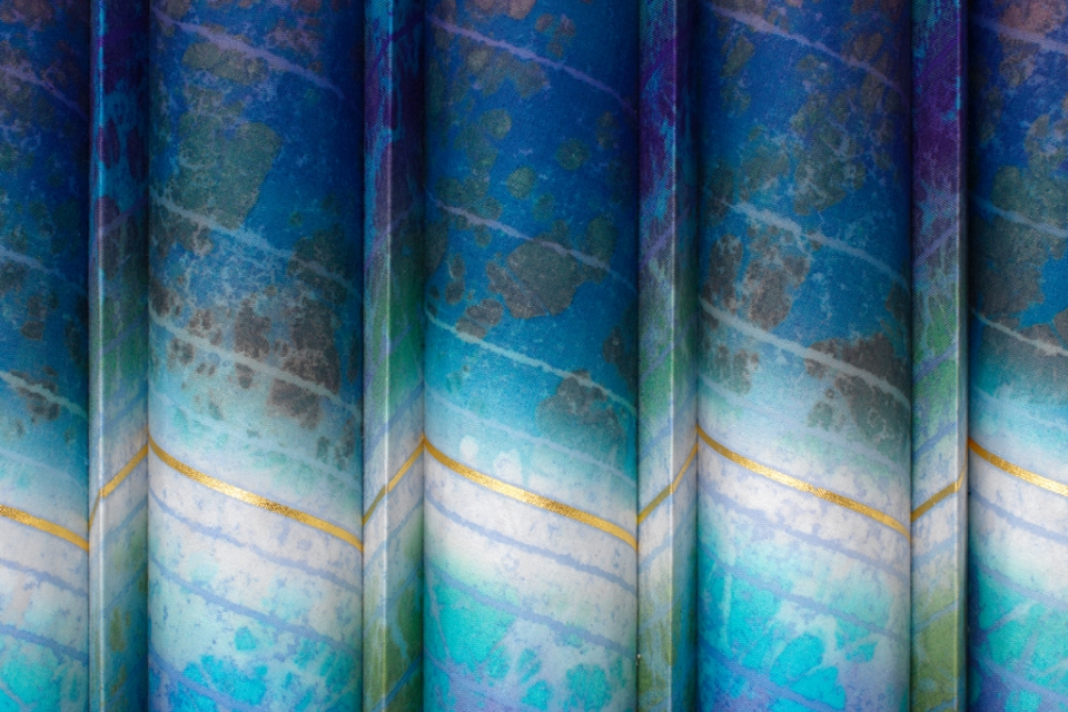 Detail of marbled cloth in shades of blue